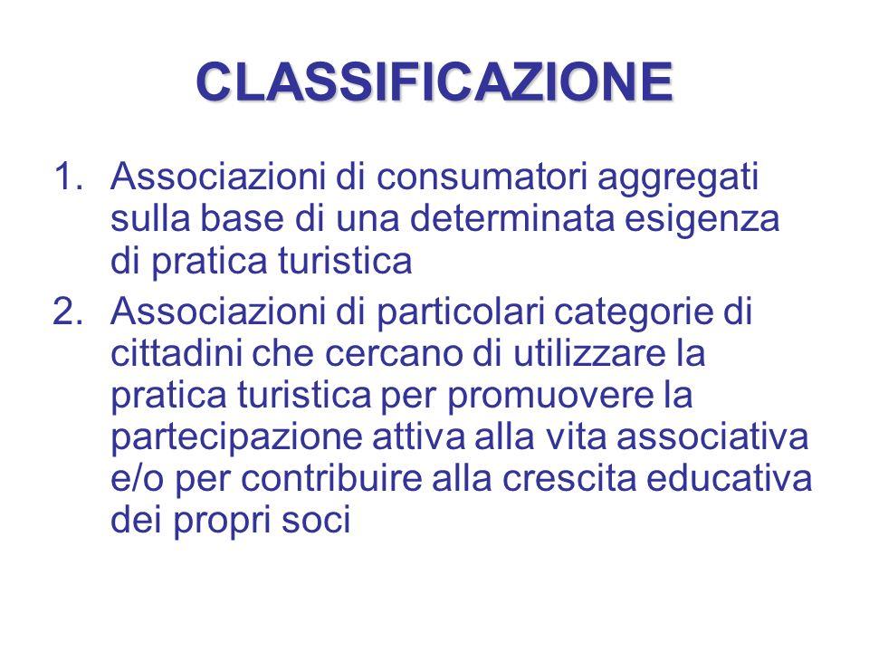 CLASSIFICAZIONE Associazioni di consumatori aggregati sulla base di una determinata esigenza di pratica turistica.