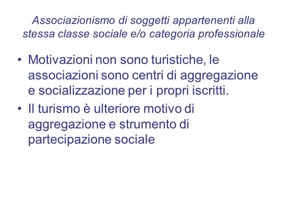 Associazionismo di soggetti appartenenti alla stessa classe sociale e/o categoria professionale