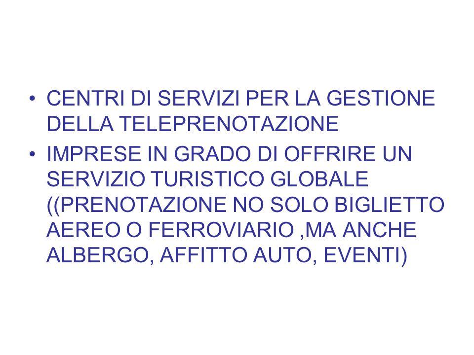 CENTRI DI SERVIZI PER LA GESTIONE DELLA TELEPRENOTAZIONE
