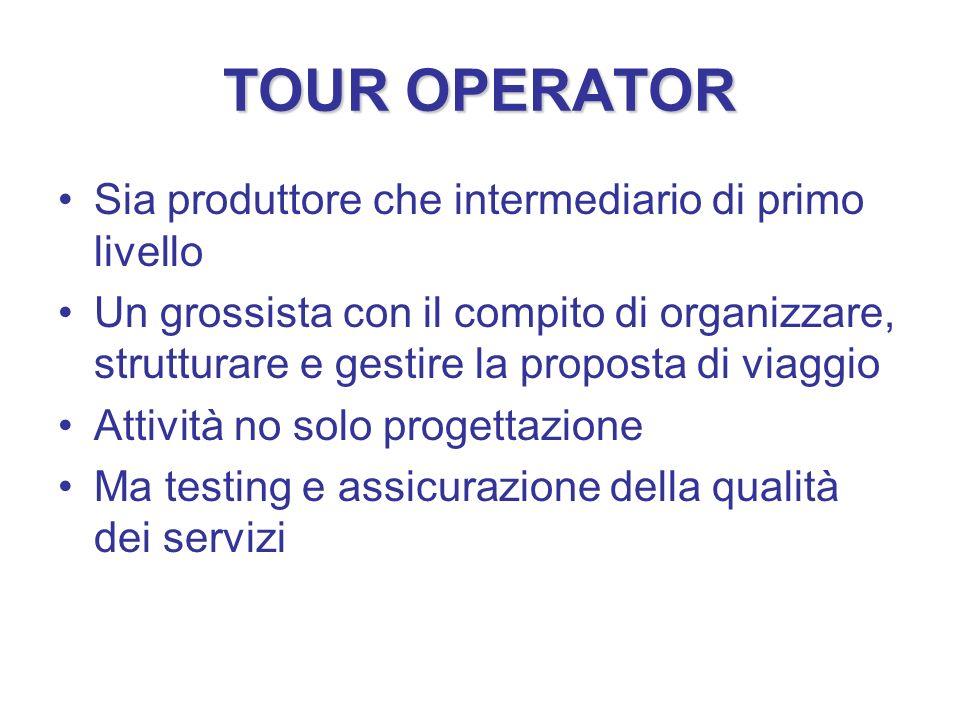 TOUR OPERATOR Sia produttore che intermediario di primo livello