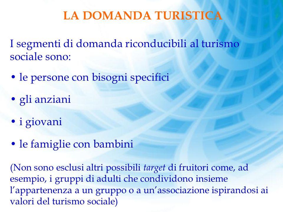 LA DOMANDA TURISTICA. I segmenti di domanda riconducibili al turismo sociale sono: le persone con bisogni specifici.