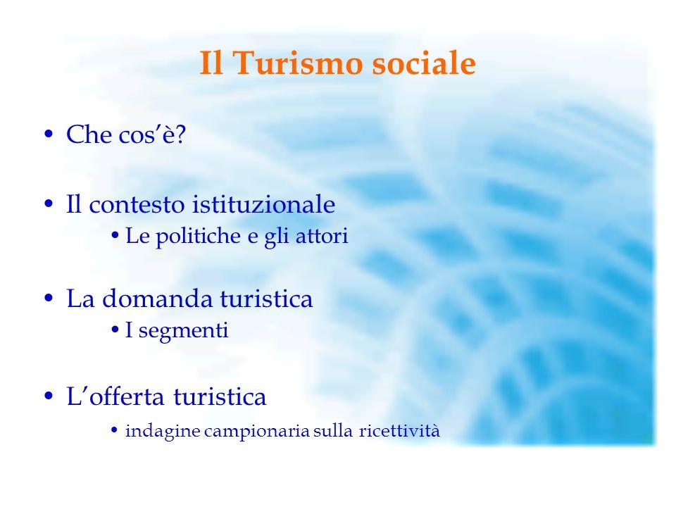 Il Turismo sociale Che cos'è Il contesto istituzionale