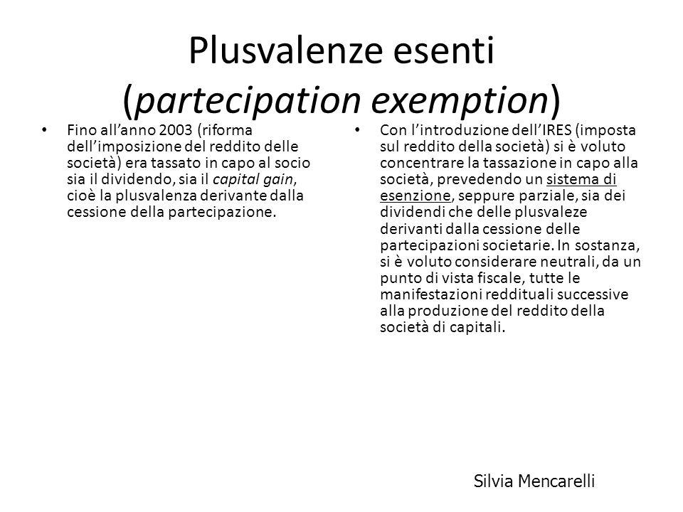 Plusvalenze esenti (partecipation exemption)