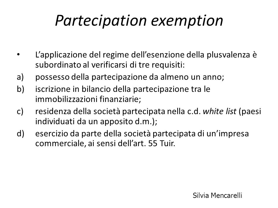 Partecipation exemption