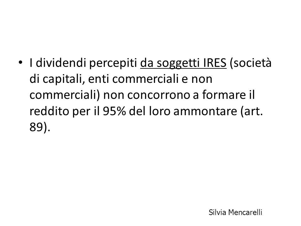 I dividendi percepiti da soggetti IRES (società di capitali, enti commerciali e non commerciali) non concorrono a formare il reddito per il 95% del loro ammontare (art. 89).
