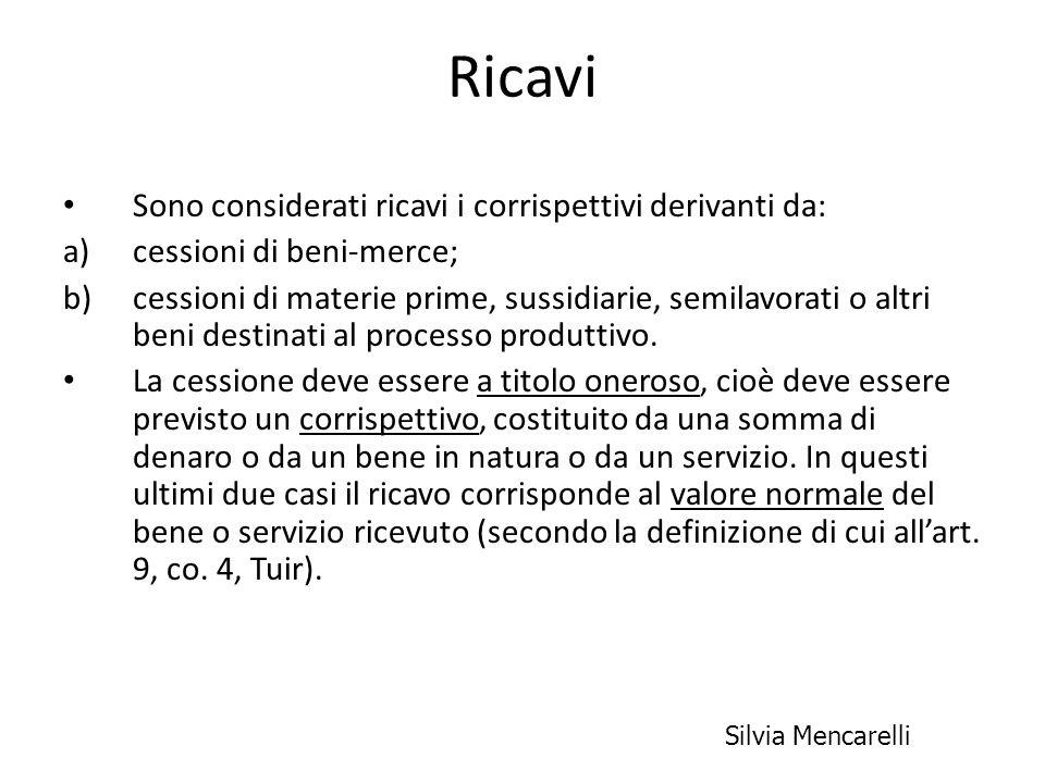 Ricavi Sono considerati ricavi i corrispettivi derivanti da: