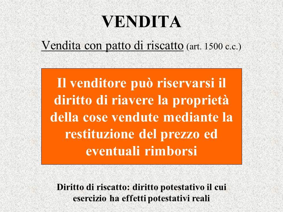 Vendita con patto di riscatto (art. 1500 c.c.)
