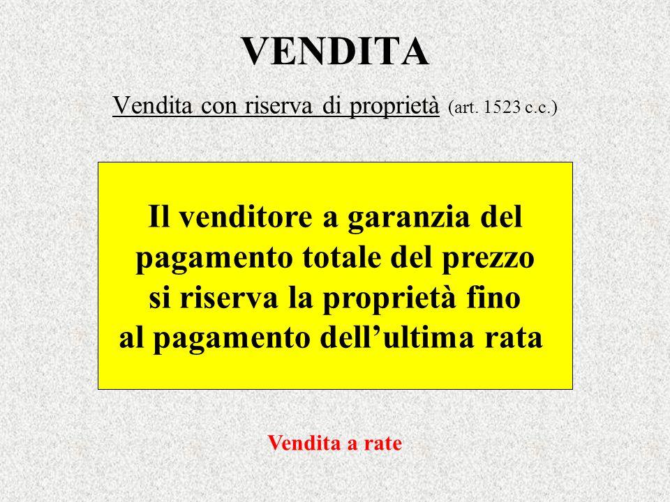 Vendita con riserva di proprietà (art. 1523 c.c.)
