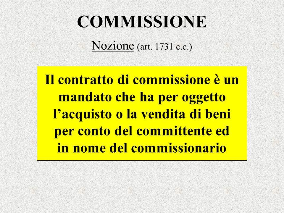 COMMISSIONE Il contratto di commissione è un