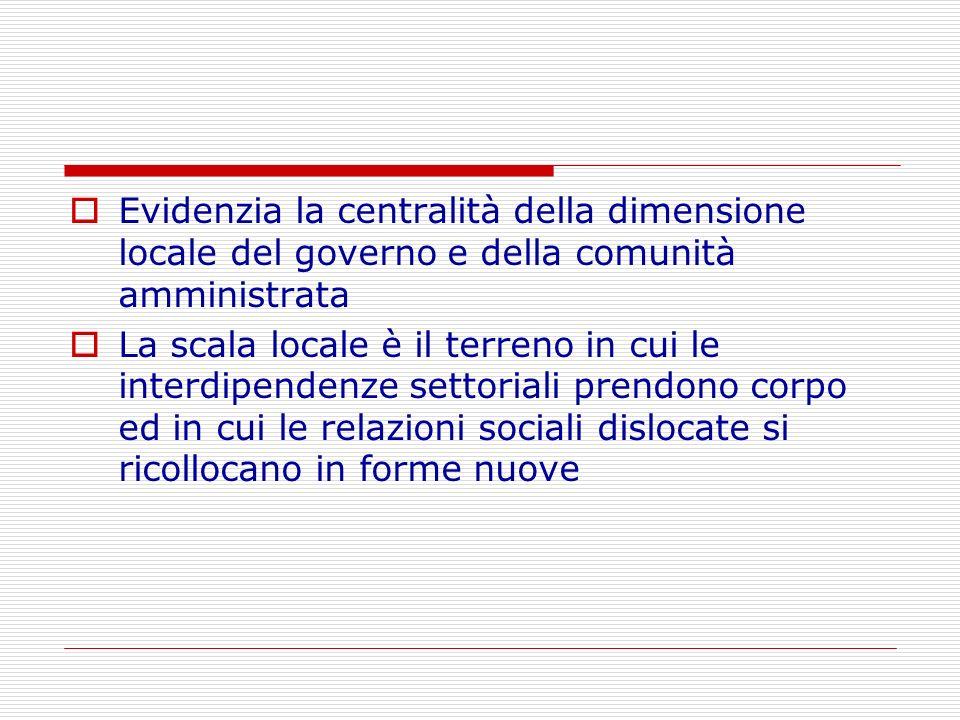 Evidenzia la centralità della dimensione locale del governo e della comunità amministrata