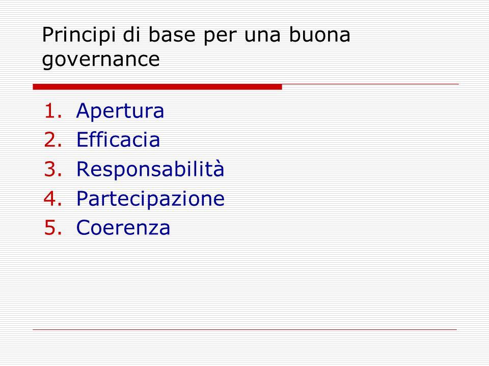 Principi di base per una buona governance