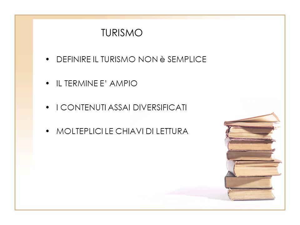 TURISMO DEFINIRE IL TURISMO NON è SEMPLICE IL TERMINE E' AMPIO