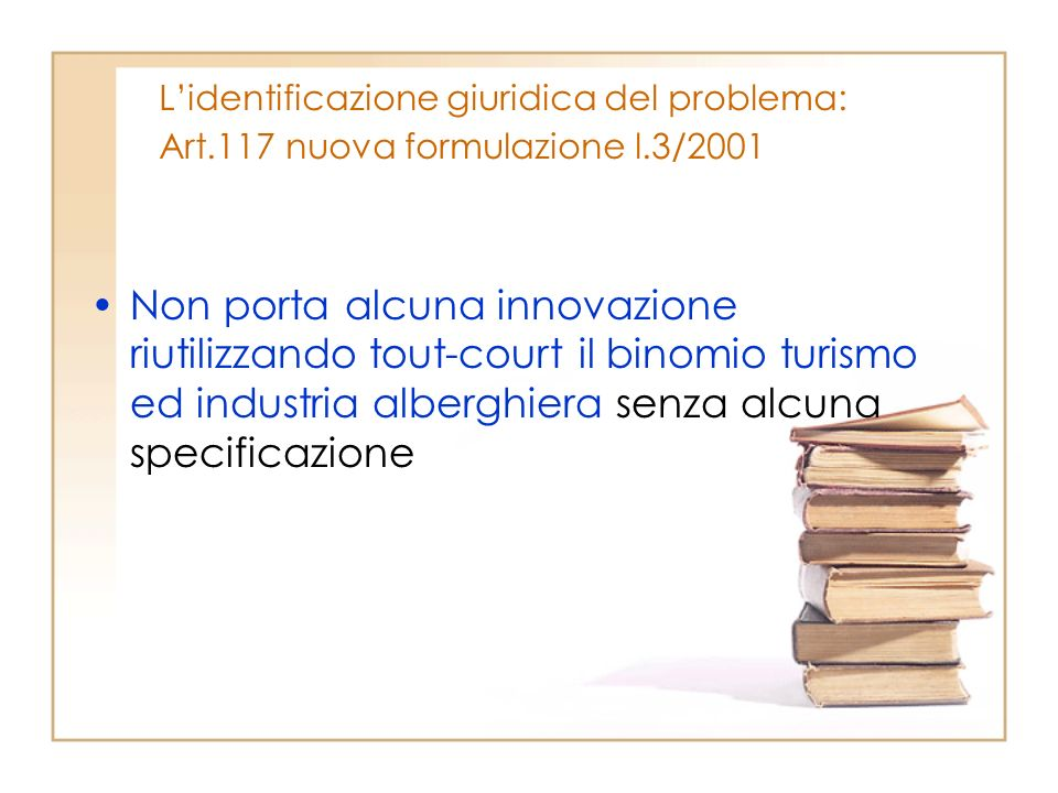 L'identificazione giuridica del problema: Art.117 nuova formulazione l.3/2001