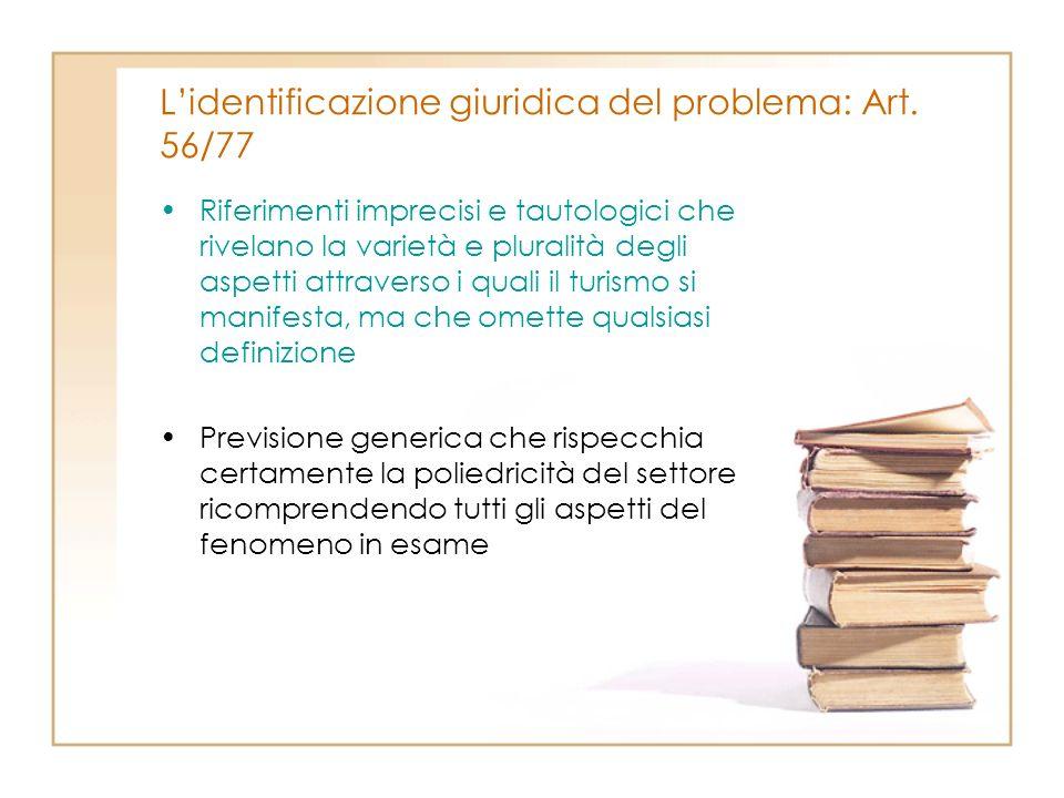 L'identificazione giuridica del problema: Art. 56/77