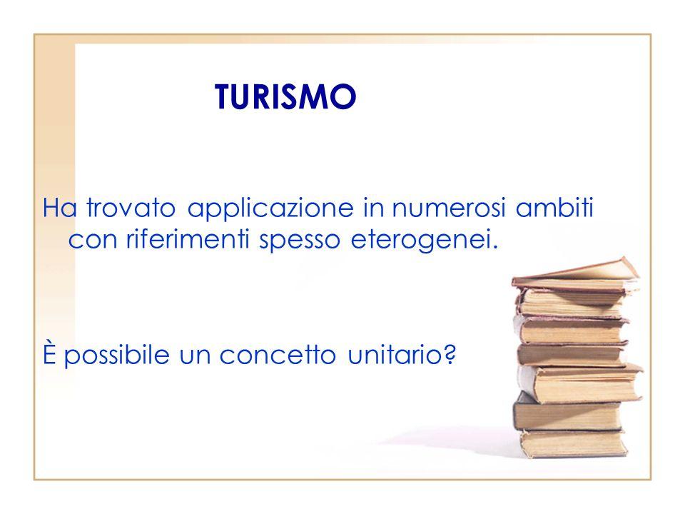 TURISMO Ha trovato applicazione in numerosi ambiti con riferimenti spesso eterogenei.