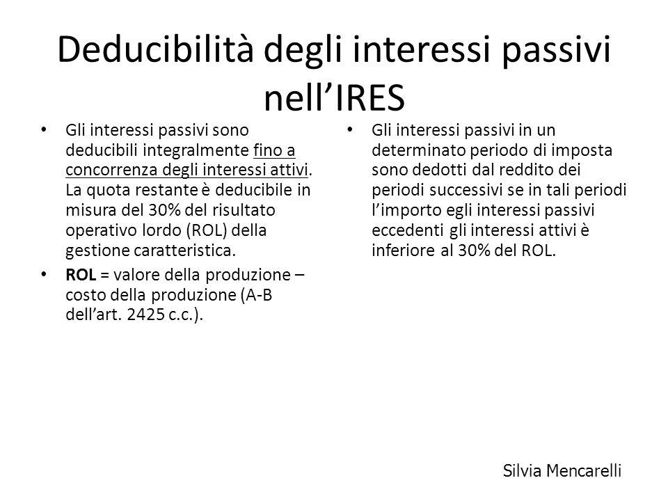 Deducibilità degli interessi passivi nell'IRES
