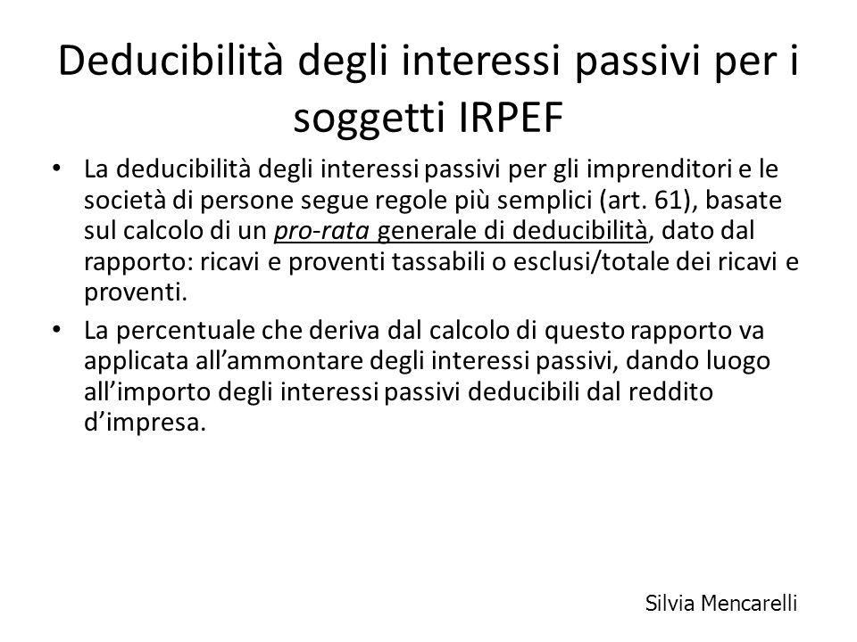 Deducibilità degli interessi passivi per i soggetti IRPEF