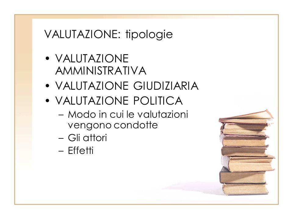 VALUTAZIONE: tipologie