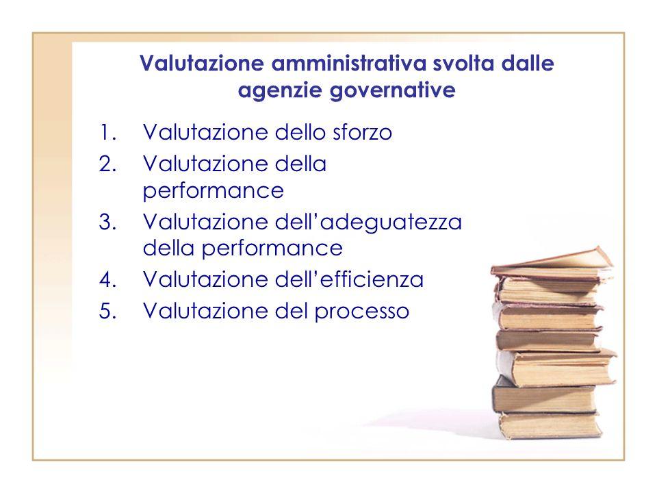 Valutazione amministrativa svolta dalle agenzie governative
