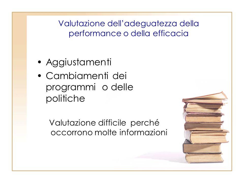 Valutazione dell'adeguatezza della performance o della efficacia