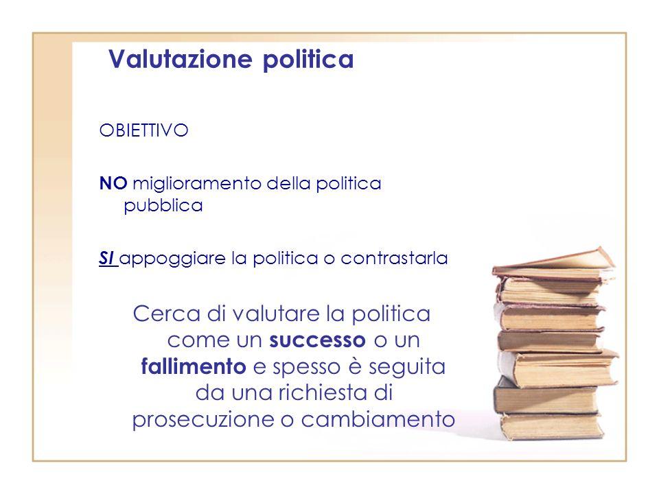 Valutazione politica OBIETTIVO. NO miglioramento della politica pubblica. SI appoggiare la politica o contrastarla.