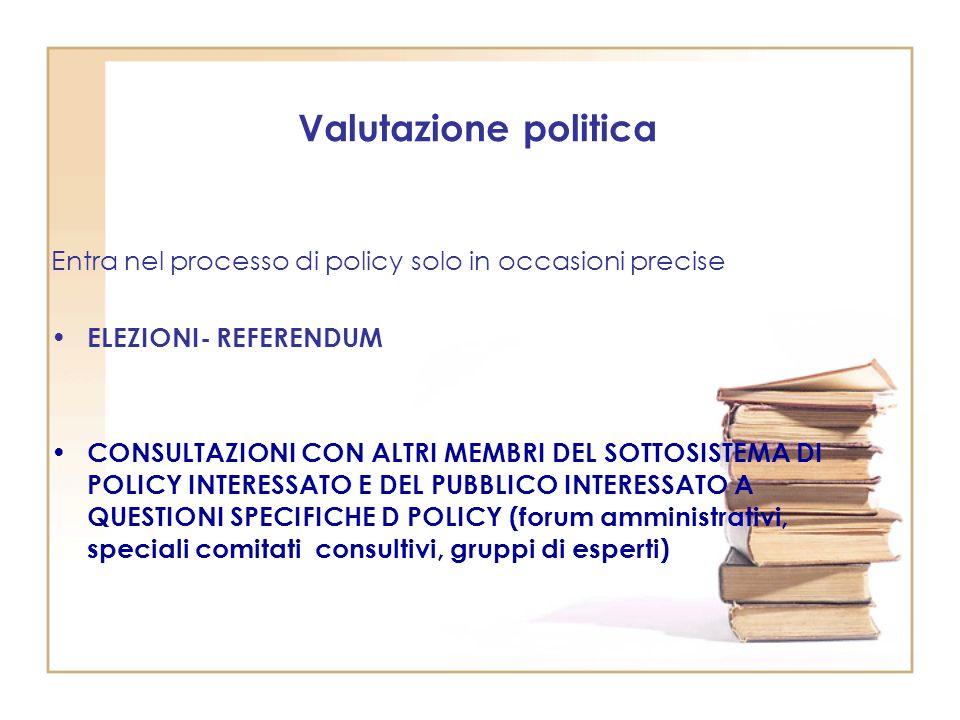 Valutazione politica Entra nel processo di policy solo in occasioni precise. ELEZIONI- REFERENDUM.