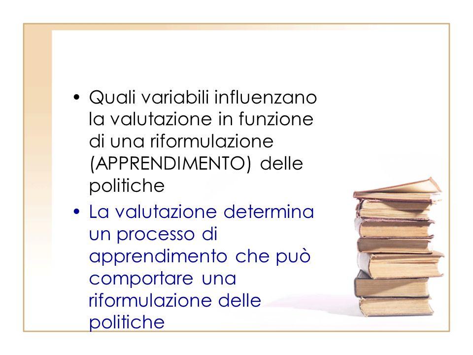 Quali variabili influenzano la valutazione in funzione di una riformulazione (APPRENDIMENTO) delle politiche