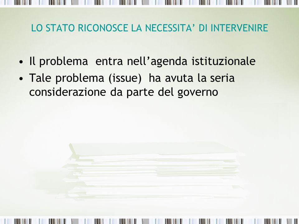 LO STATO RICONOSCE LA NECESSITA' DI INTERVENIRE