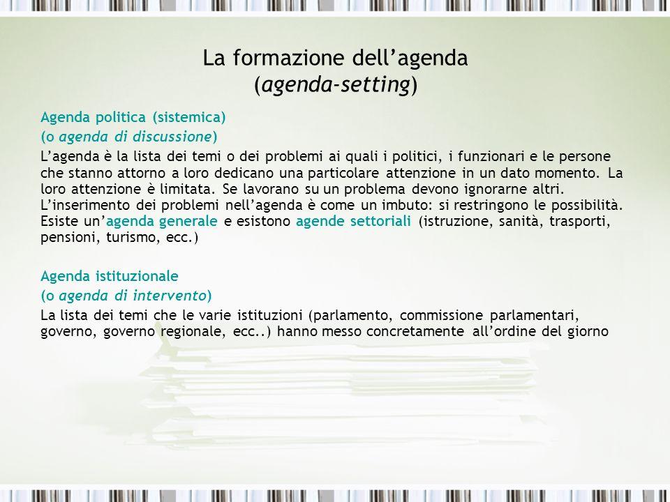 La formazione dell'agenda (agenda-setting)