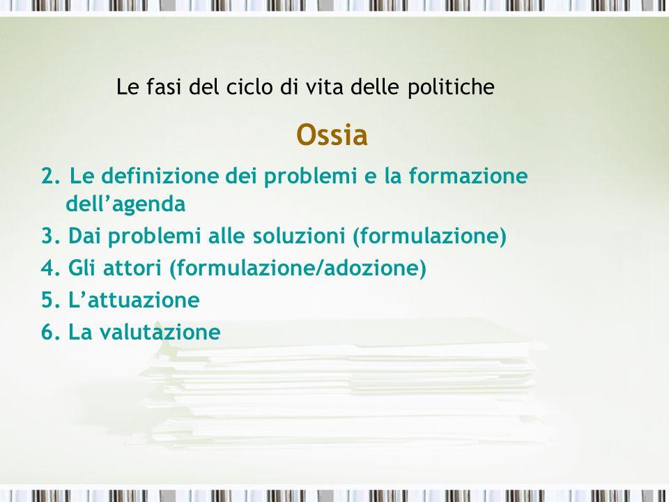 Le fasi del ciclo di vita delle politiche
