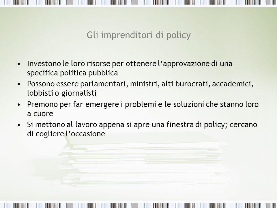 Gli imprenditori di policy