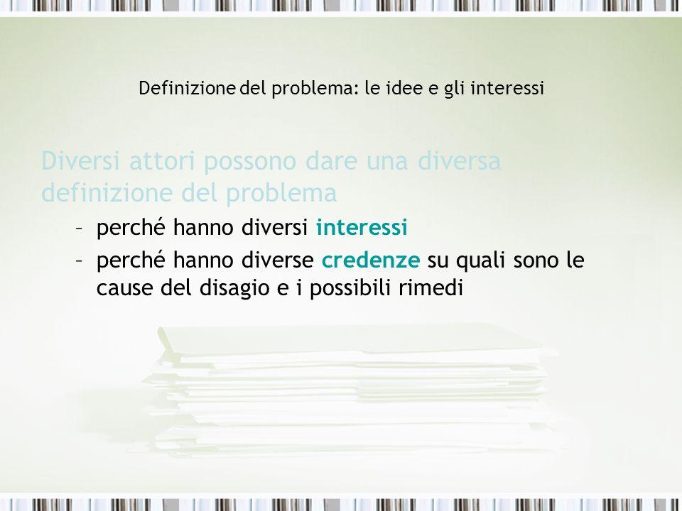 Definizione del problema: le idee e gli interessi
