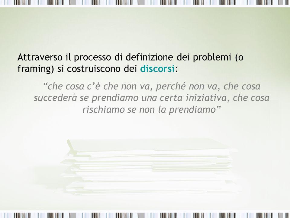 Attraverso il processo di definizione dei problemi (o framing) si costruiscono dei discorsi: