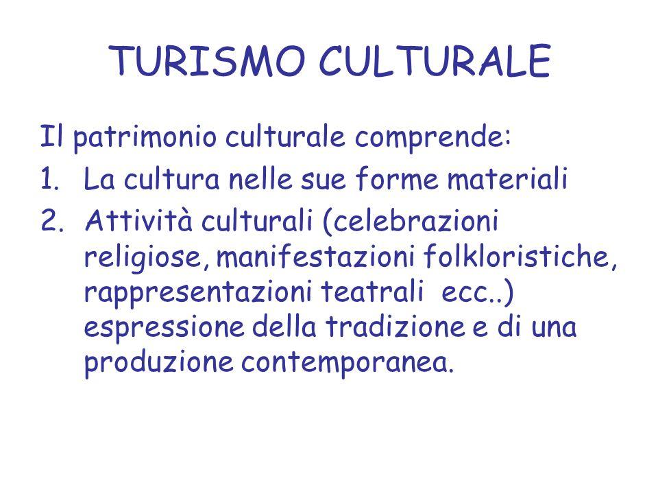 TURISMO CULTURALE Il patrimonio culturale comprende: