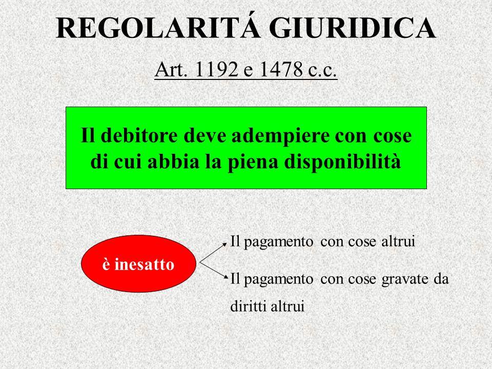 REGOLARITÁ GIURIDICA Art. 1192 e 1478 c.c.