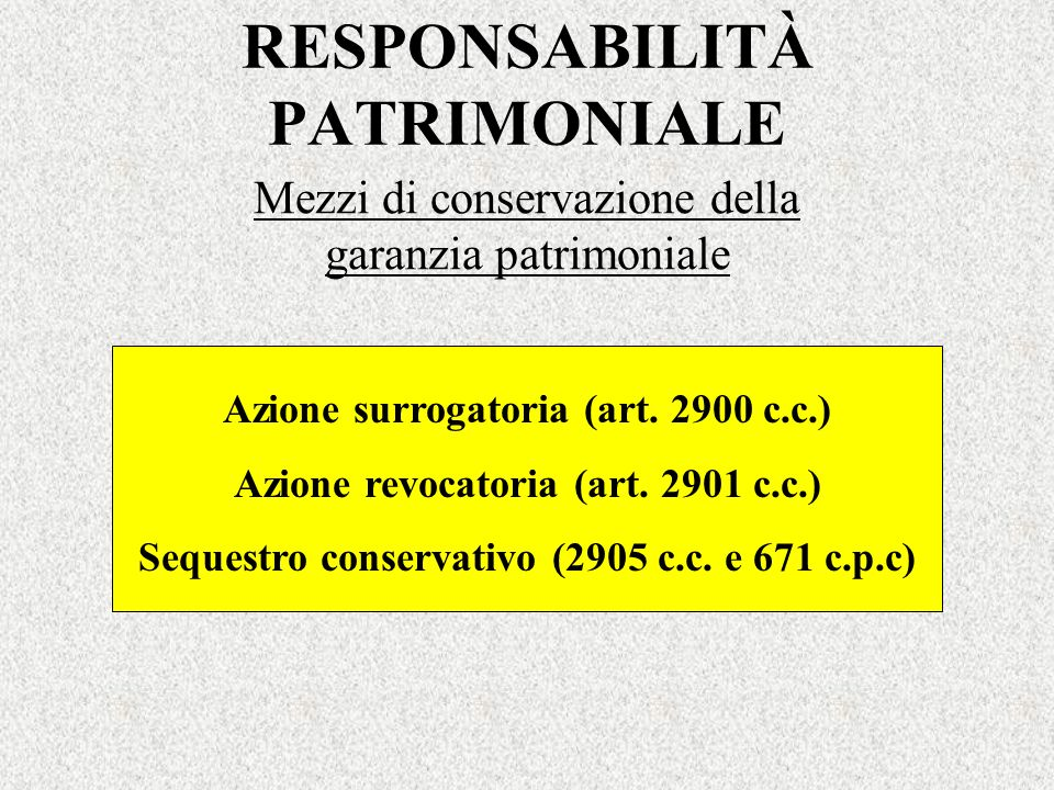 RESPONSABILITÀ PATRIMONIALE