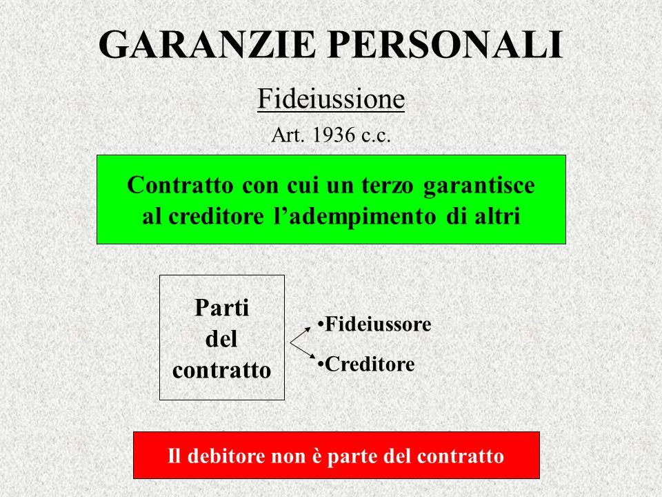 GARANZIE PERSONALI Fideiussione Contratto con cui un terzo garantisce