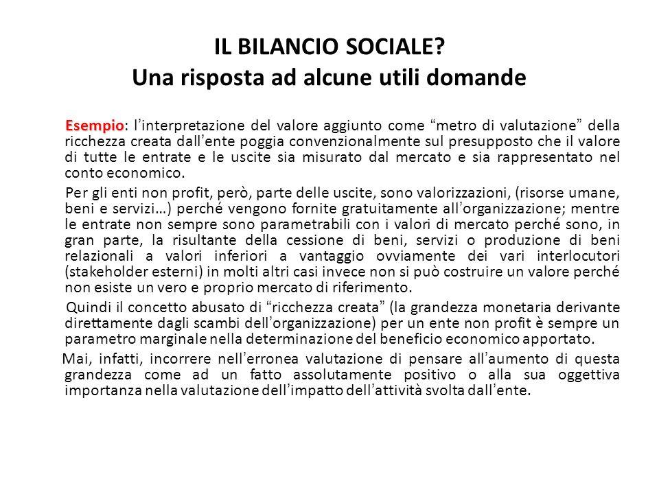 IL BILANCIO SOCIALE Una risposta ad alcune utili domande