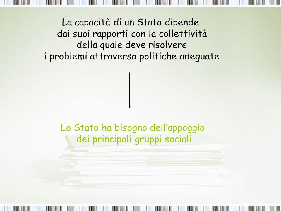 La capacità di un Stato dipende dai suoi rapporti con la collettività