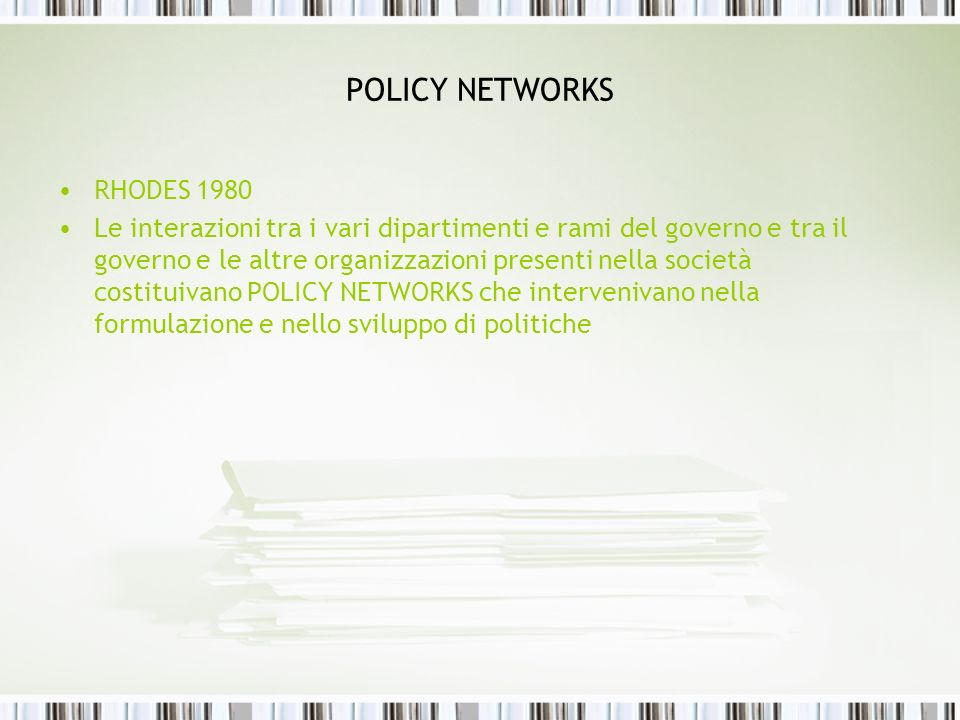 POLICY NETWORKS RHODES 1980