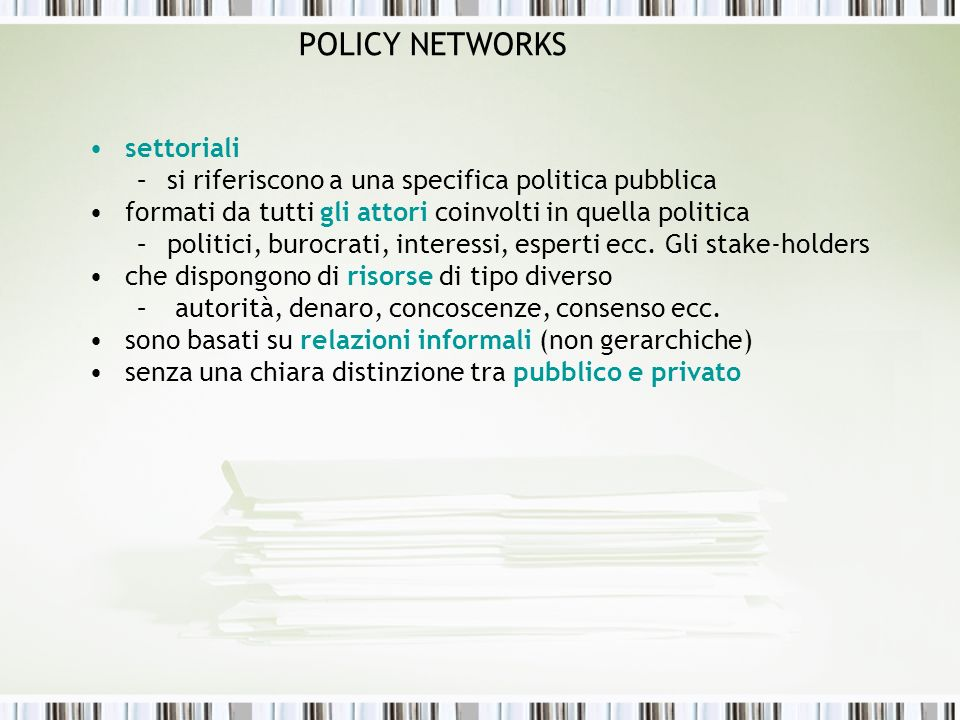 POLICY NETWORKS settoriali