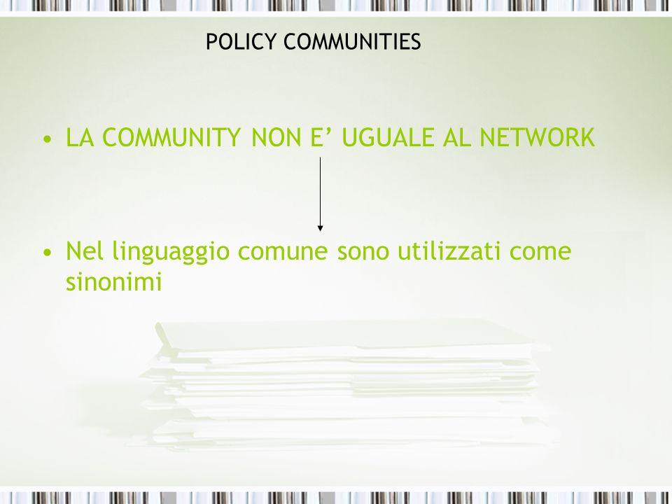 LA COMMUNITY NON E' UGUALE AL NETWORK