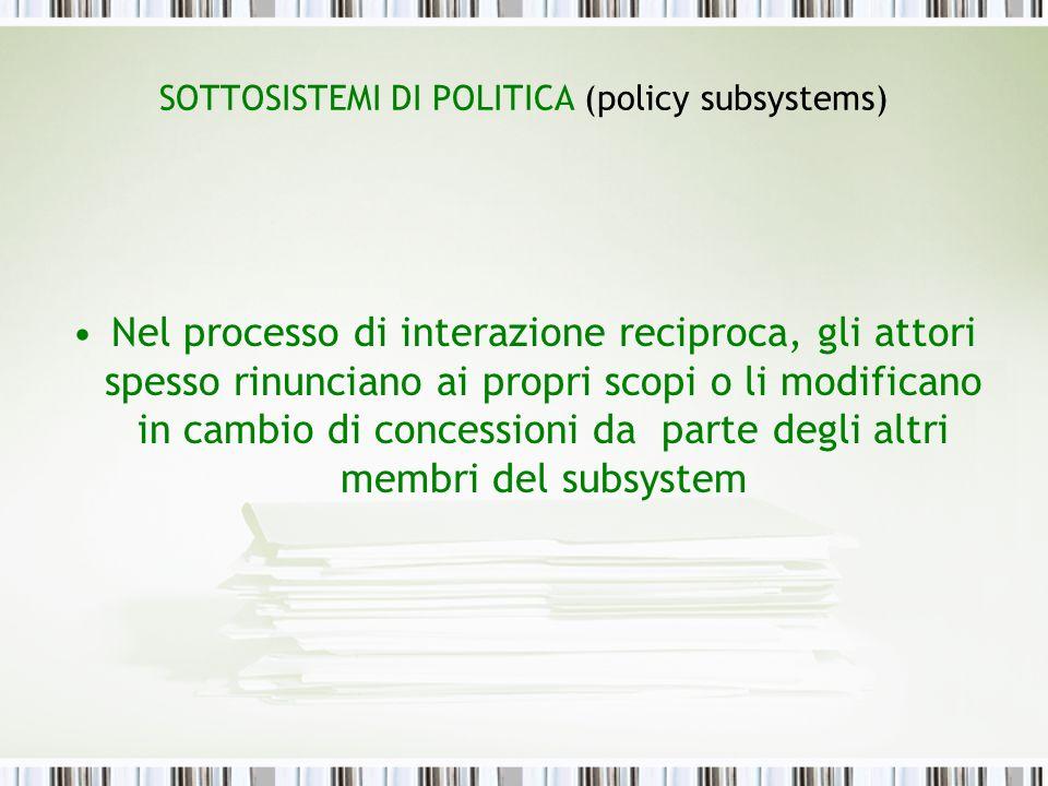 SOTTOSISTEMI DI POLITICA (policy subsystems)