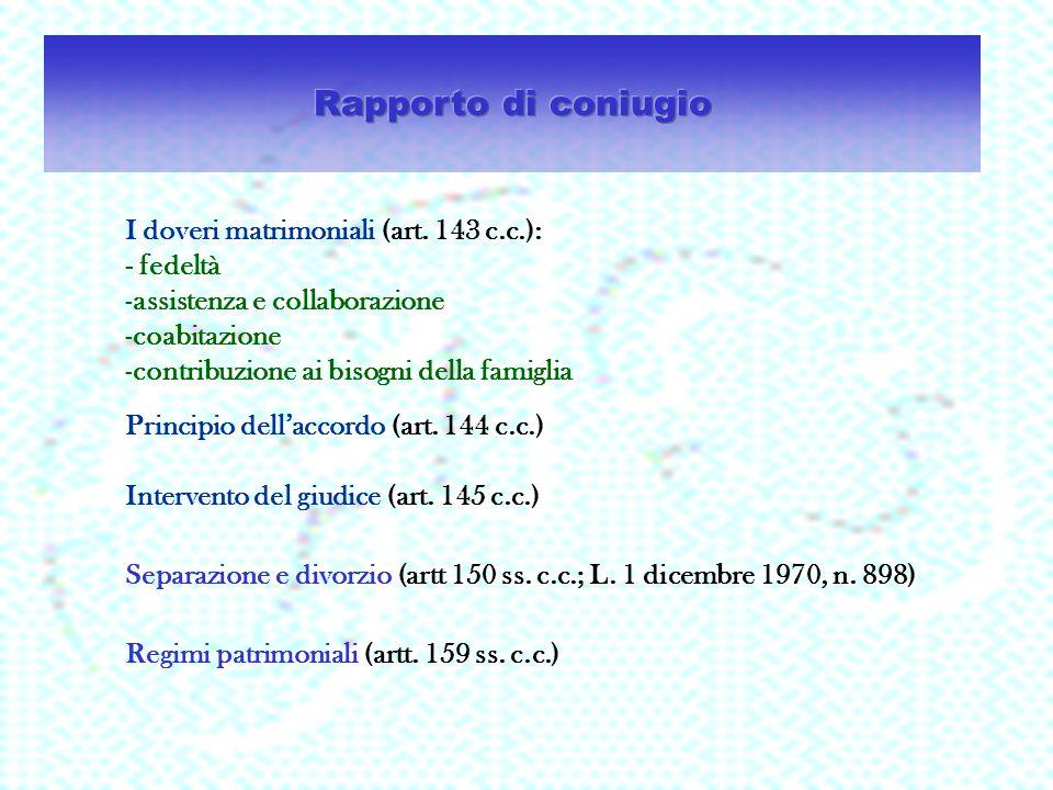 Rapporto di coniugio I doveri matrimoniali (art. 143 c.c.): - fedeltà