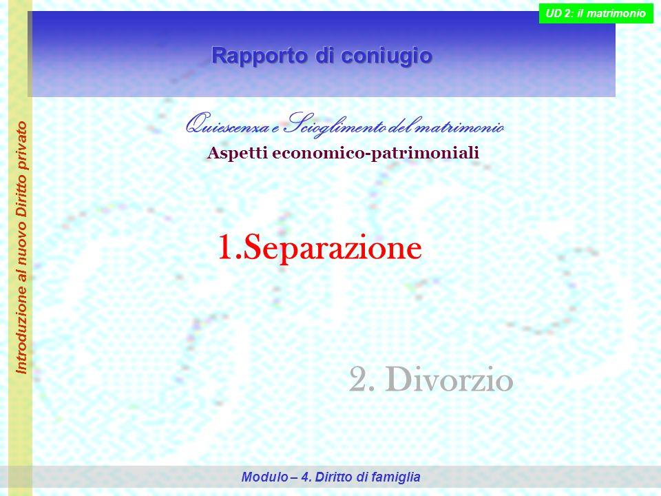 Separazione 2. Divorzio Quiescenza e Scioglimento del matrimonio
