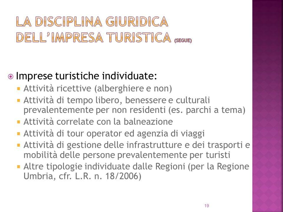 la disciplina giuridica dell'impresa turistica (segue)