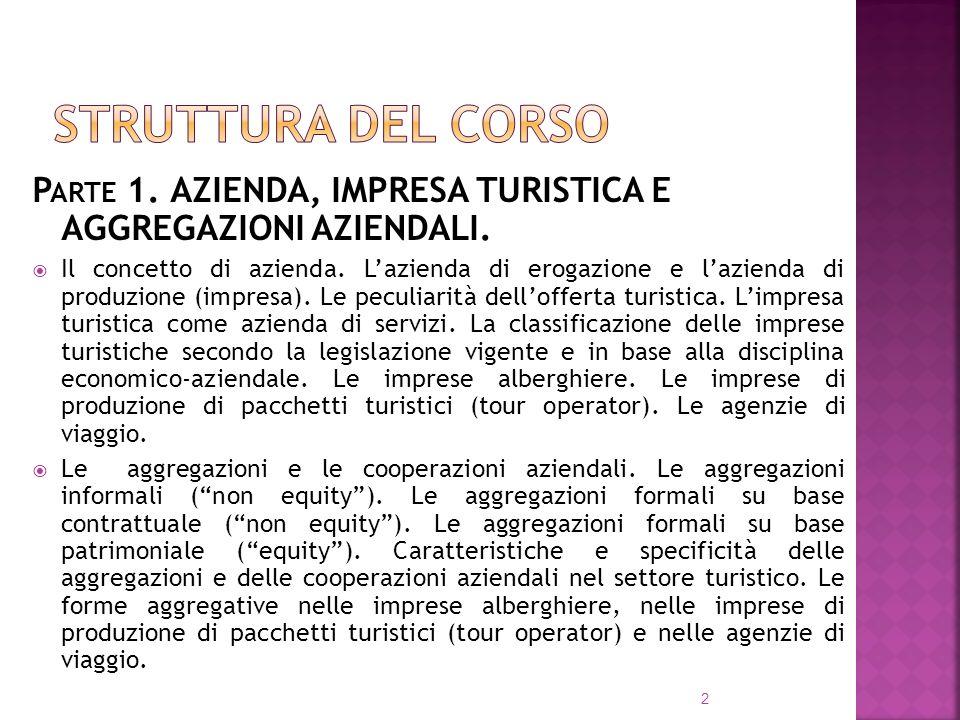 Struttura del corsoParte 1. AZIENDA, IMPRESA TURISTICA E AGGREGAZIONI AZIENDALI.