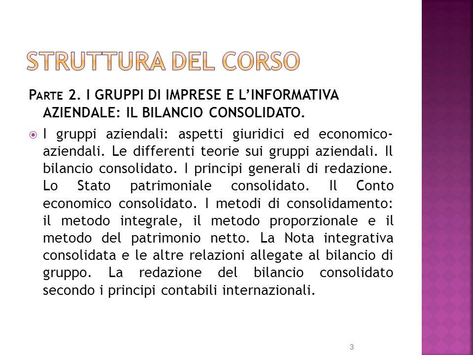 Struttura del corso Parte 2. I GRUPPI DI IMPRESE E L'INFORMATIVA AZIENDALE: IL BILANCIO CONSOLIDATO.