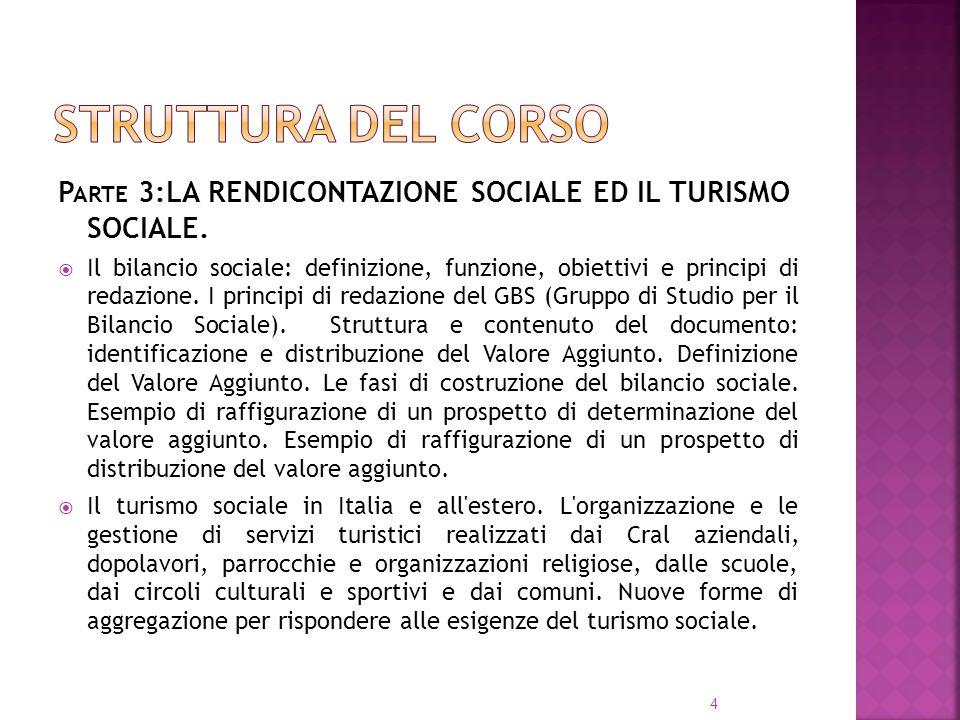 Struttura del corso Parte 3:LA RENDICONTAZIONE SOCIALE ED IL TURISMO SOCIALE.