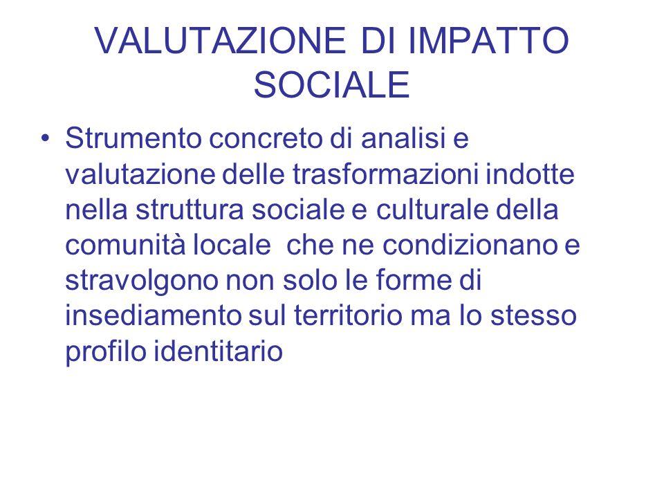 VALUTAZIONE DI IMPATTO SOCIALE